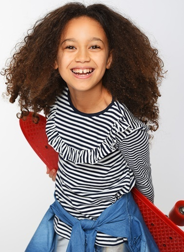 Morhipo Kids Fırfır Detaylı Çizgili Uzun Kol Tişört Lacivert